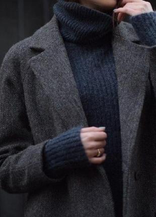 Пальто шерстяное шерсть в ёлочку sisley двубортное