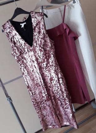 Шикарное платье миди  с разрезом в пайетки акция  1+1=3