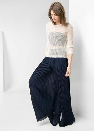 Шикарные длинные широкие плиссированные брюки палаццо  mango