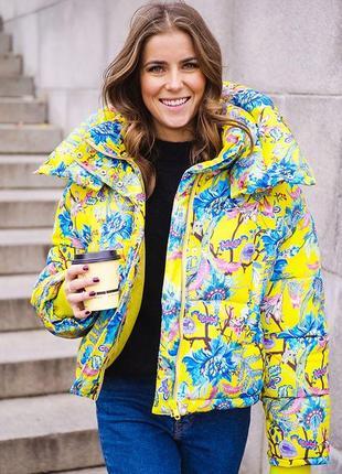 Трендовая оверсайз премиум куртка с воротником-пристежкой цветочный принт от h&m