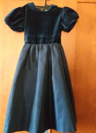 Нарядное бархатное синее платье р-р 122