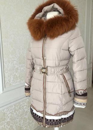 Зимнее пальто/ куртка/пуховик/kiko/ бежевый кофейный /натуральный мех/ размер s