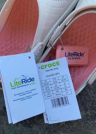 Сабо crocs literide  barely pink/white2 фото