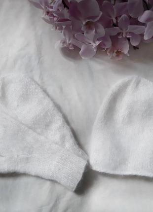 Белая мохерова шапка, мохеровые варежки
