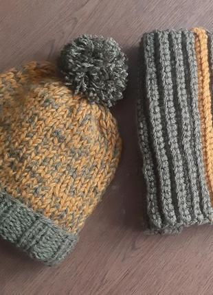 Вязаный набор для мальчика, шапка для мальчика, снуд для мальчика