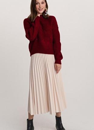 Тёплая юбка плиссе молочного цвета
