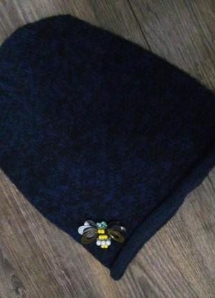 Теплая шапка бини шмель