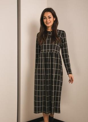 Платье сарафан завышенная талия длинное клетка модное стильное трендовое