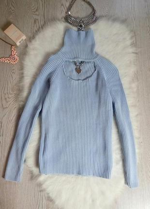 Голубой свитер с горлом гольф с вырезом декольте украшением кофта теплая водолазкалапша