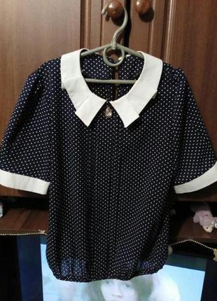 Блуза синяя в белый горошок
