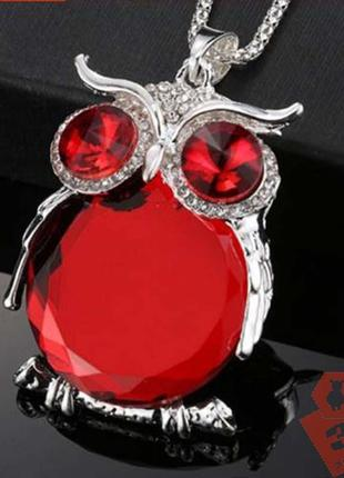Кулон сова красный кристалл