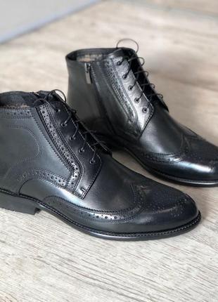 Мужские зимние кожаные ботинки полусапоги