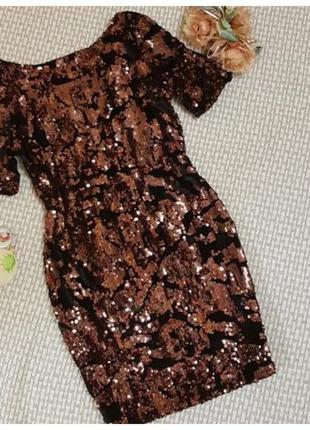 Платье в паетках topshop, бархат