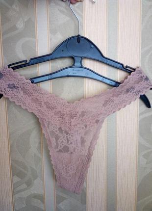 Кружевные трусики танга victoria's secret pink