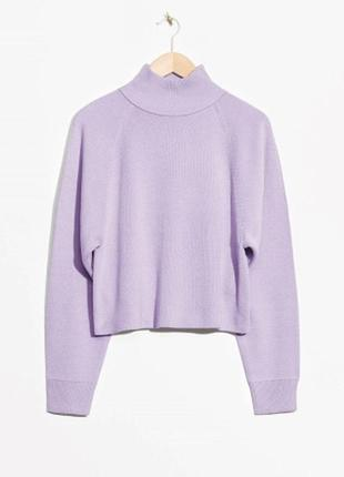 Оверсайз укорочений лиловый свитер с горловиной &other stories
