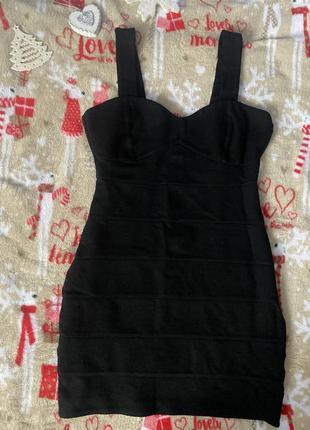 Черное бандажное платье h&m