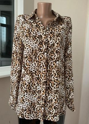 Леопардовая шифоновая рубашка