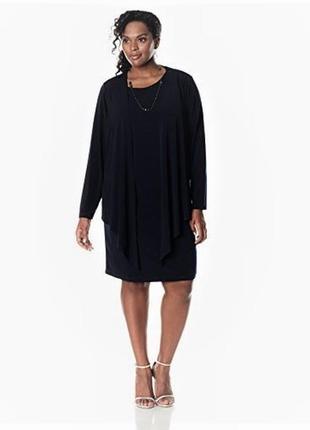 """Платье  батал в комплекте c кардиганом черное   , вырез """"качели"""", plus 22w 58, 60 рр"""