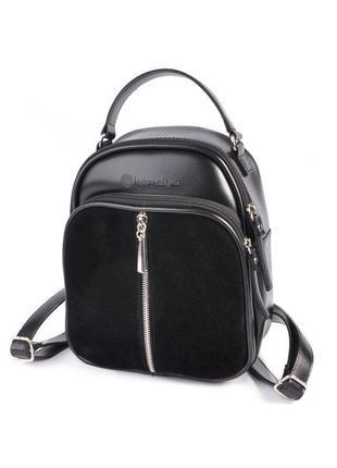 Замшевая маленькая сумка рюкзак через плечо молодежный городской