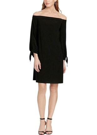 """Платье """"shift"""" спадающее с плеч, с рукавами 7/8 на завязках, размер 10 usa"""
