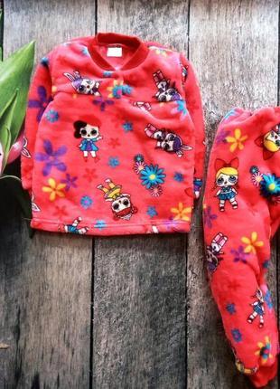 Детская теплая махровая пижама с куклами лол