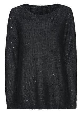 Черный свитер джемпер с пайетками р.м