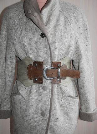 Широкий кожаный пояс-корсет серый бежевыйпод платье шубу пальто