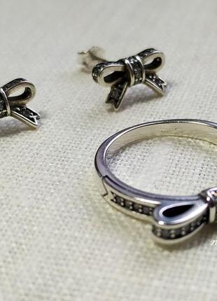 Новый набор ювелирных украшений из серебра с цирконием, бант