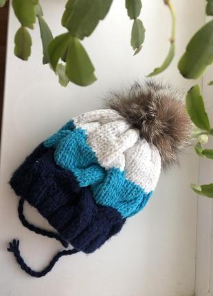 Зимняя шапка с на уральцем помпоном на флисе