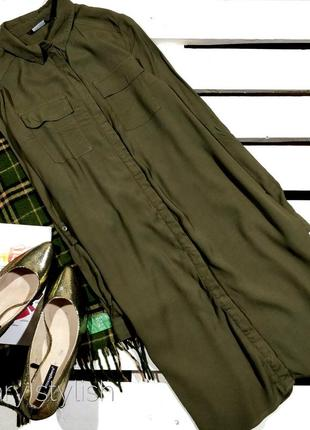 Удлиненное платье рубашка хаки