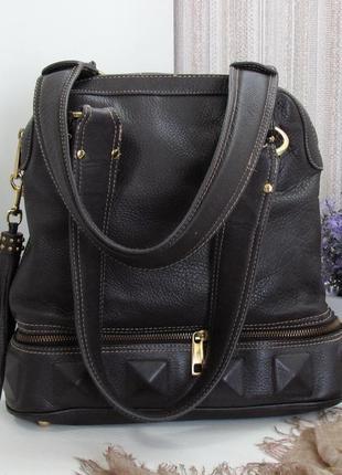 Бомбическая сумка kate landry, сша, натуральная кожа