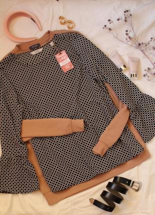Блуза топ свободного кроя с рукавами клеш качественная черная белая принт