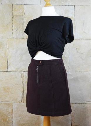 Акция 1+1=3! юбка марсала с шерстью теплая трапеция new look зима осень