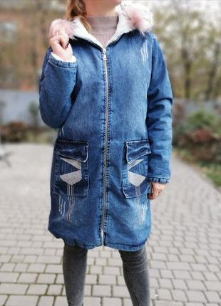 Стильная и тёплая джинсовая куртка 👌 в наличии есть мех в сером цвете