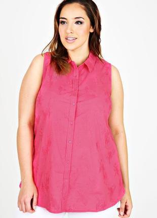 Топ рубашка блуза хлопковая фуксия с вышивкой