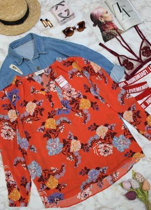 Блуза свободного кроя оранж флористический принт качество