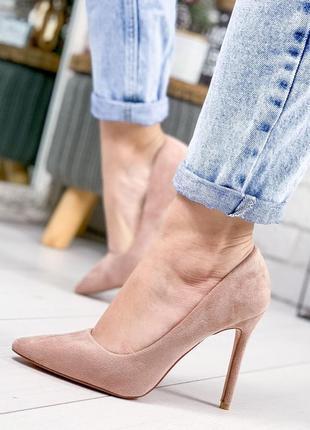 Туфли замшевые пудра