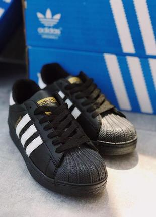 Шикарные женские кроссовки adidas superstar black 😍 (весна/ лето/ осень)