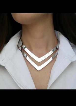 Металлическое ожерелье-ошейник геометрического дизайна