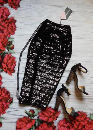 🌿блестящая, нарядная,  вечерняя юбка миди в паетку от prettylittletheng.  размер l🌿