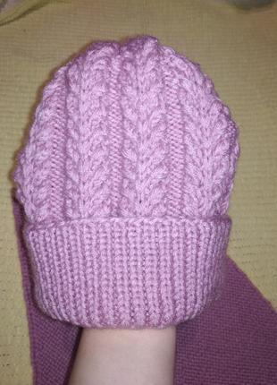 Зимняя тёплая шапочка +шарф шерсть 50%