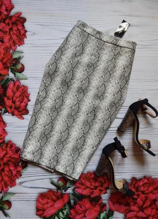 🌿эксклюзивная  юбка миди с эко кожи в оригинальный змеиный принт. размер 3xl-4xl🌿