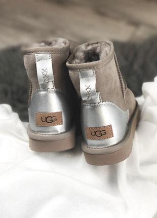 Ugg mini ash metallic! женские замшевые зимние угги/ сапоги/ ботинки/ луноходы 😍{с мехом}