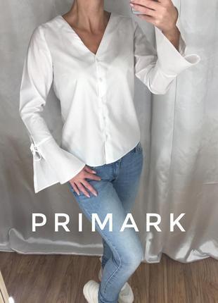 Белая рубашка рукава на завязках primark