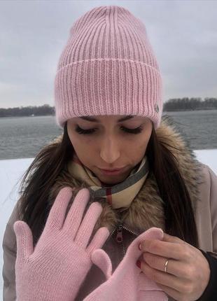 Комплект шапка и перчатки пудровые с люрексом вязаный розовый новый