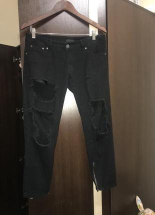 Джинсы рваные, модные, штаны, черные