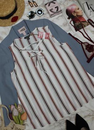Топ блуза в полоску со шнуровкой