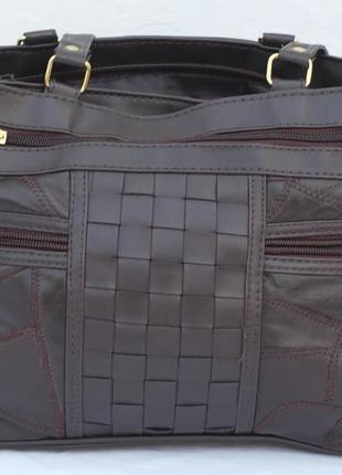 Шикарная кожаная сумочка с длиными ручками