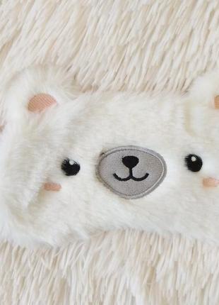 """Плюшевая милая повязка на глаза для сна """"белый медведик"""""""