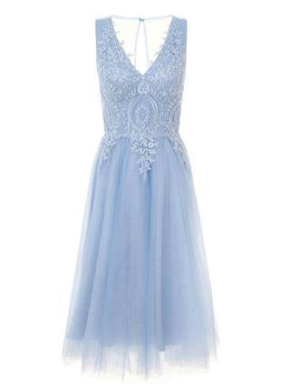 Голубое платье выпускное праздничное миди с фатином пышное с гипюром  chi chi london